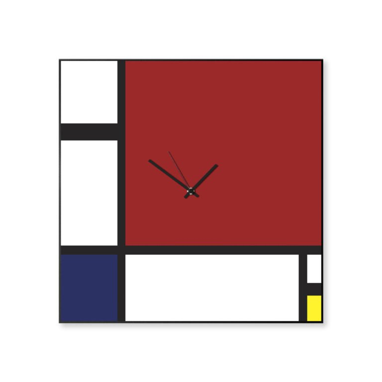 Mondrian: modern, big wall clock. Italian Design