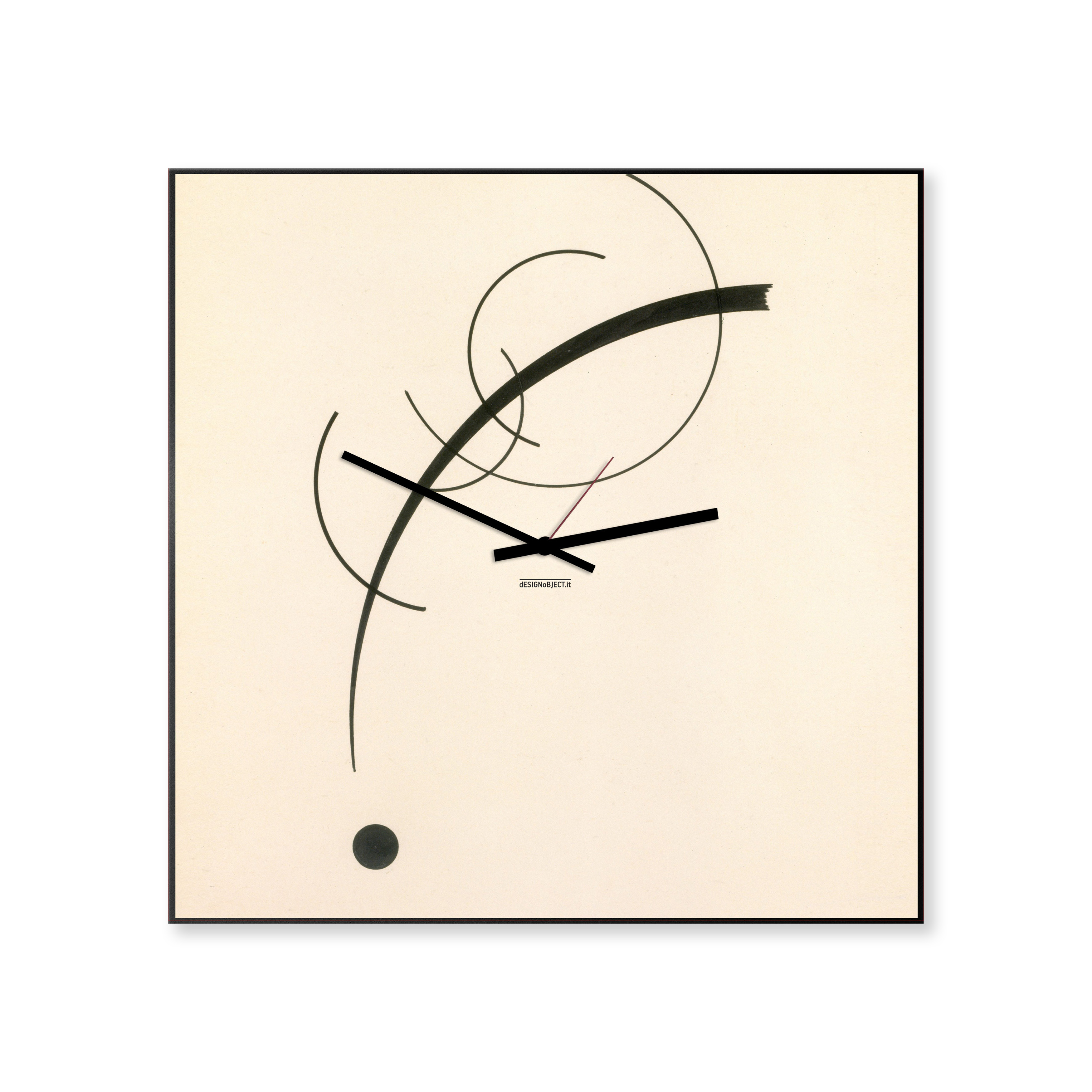 Kandinsky: modern, big wall clock. Italian Design