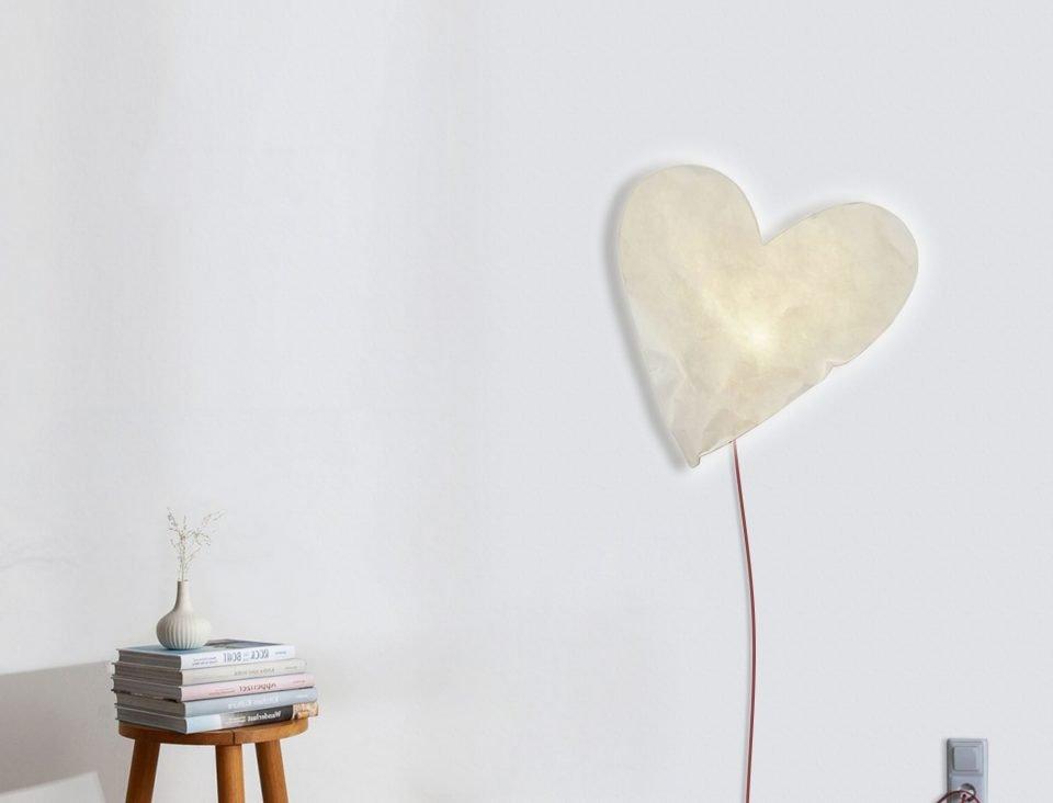 lampada cuore cameretta bambini design moderno originale romantico filo rosso luce calda