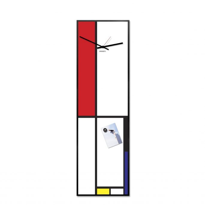 Mondrian Wall Clock-Magnetic Board