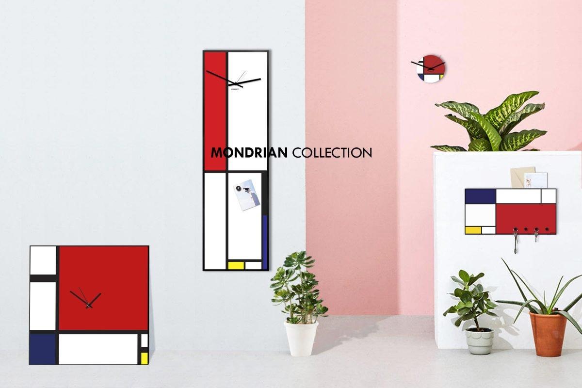 collezione orologi da parete moderni grandi dimensioni colorati stile mondrian geometrico