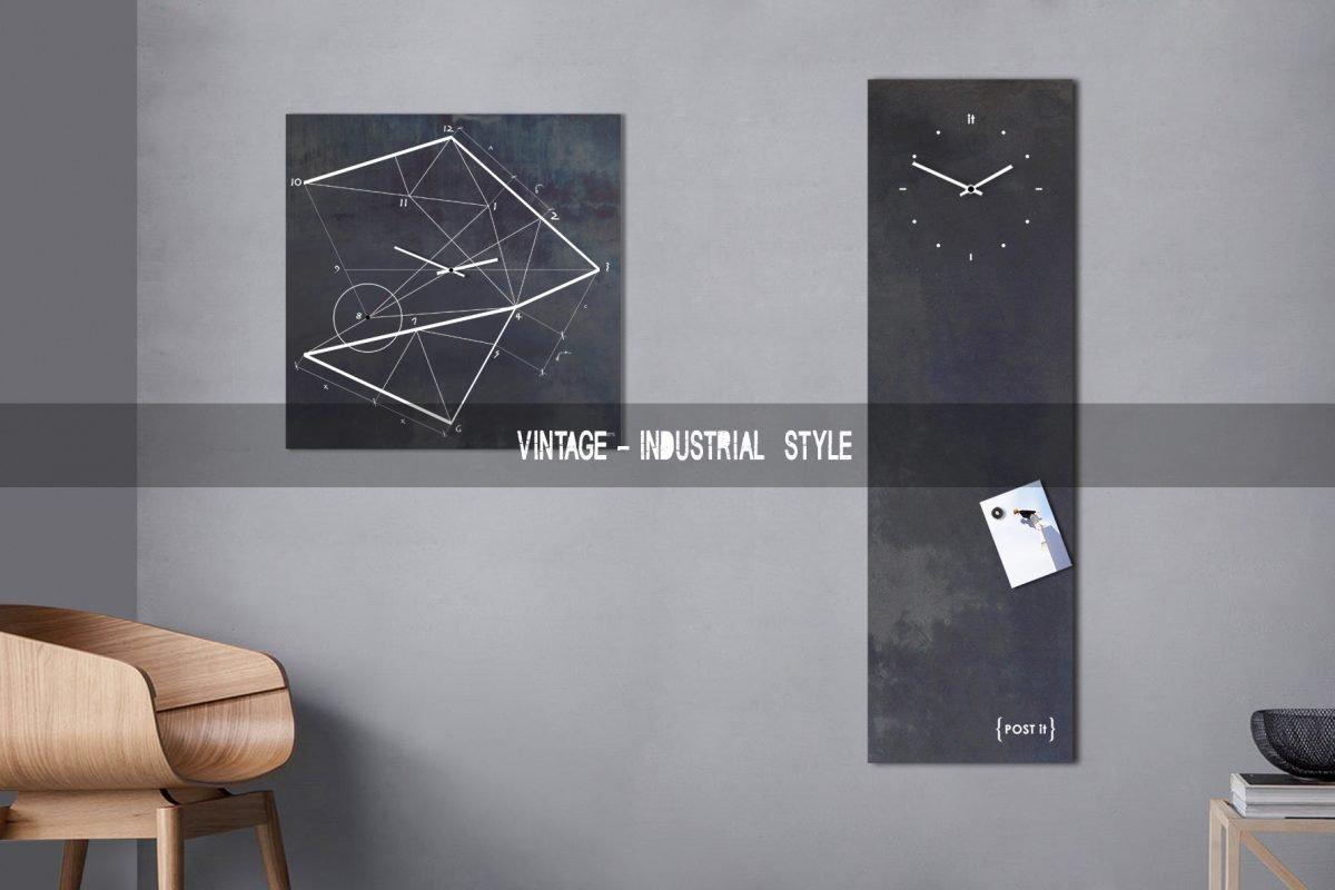 orologio da parete stile vintage industrial chic lavagna magnetica moderna design minimalista